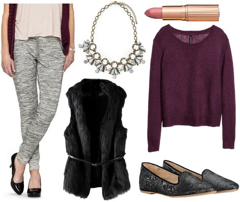 Target joggers, sweater, loafers, faux fur vest