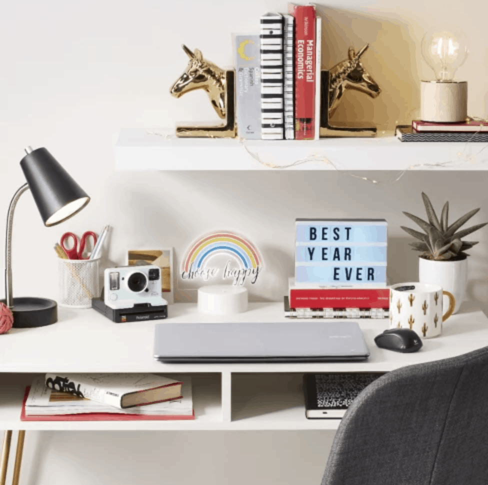 Target light up box with interchangeable letters for dorm room.