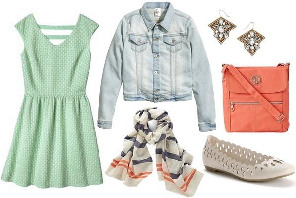 Target mint green dress, denim jacket, flats, scarf