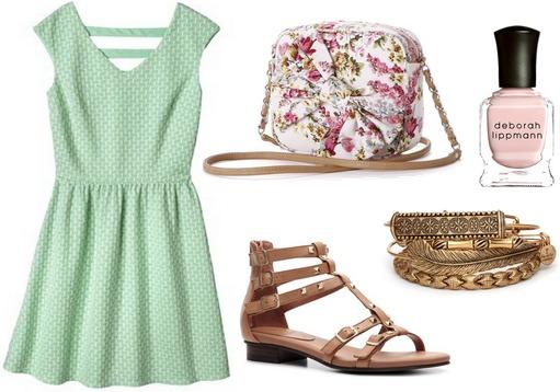 Target mint green dress, sandals, floral print bag