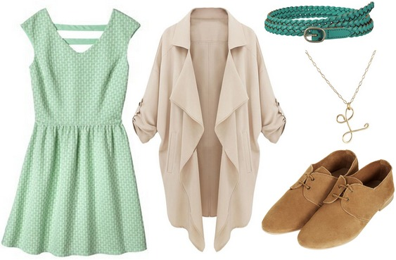 Target mint green dress, trench jacket, oxfords