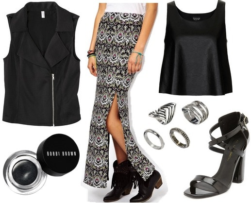 Target moto vest, maxi skirt, faux leather crop top