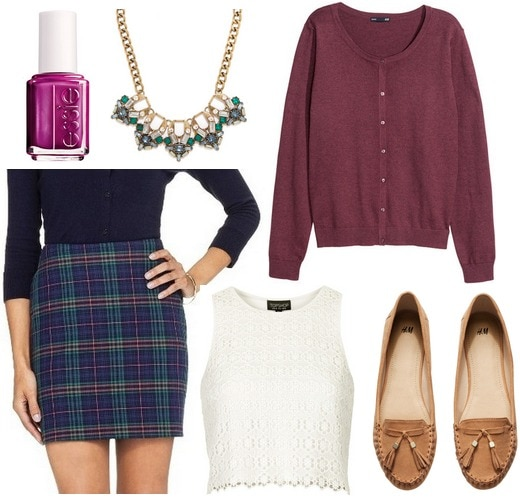 Target plaid skirt, crochet top, cardigan, loafers