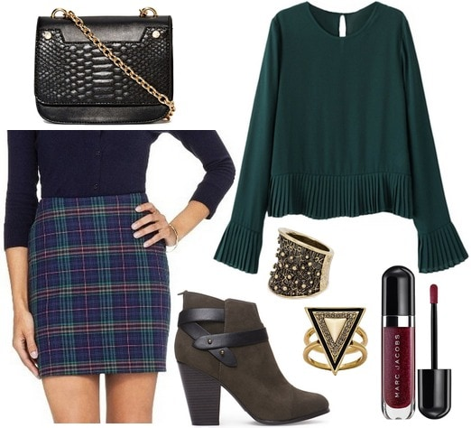 Target plaid skirt, dark green blouse, heeled booties
