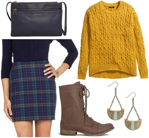 Target plaid skirt, mustard yellow sweater, combat boots