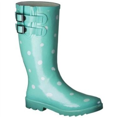 Target polka dot rain boot in mint