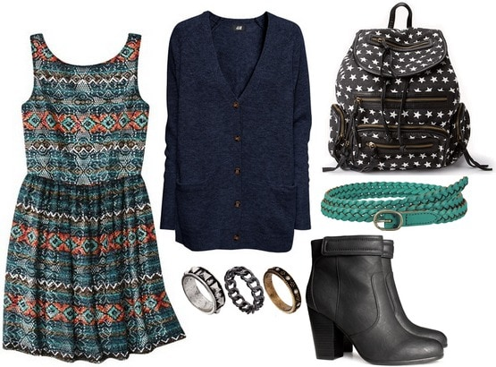Target printed lace dress, boots, backpack, cardigan, belt, rings