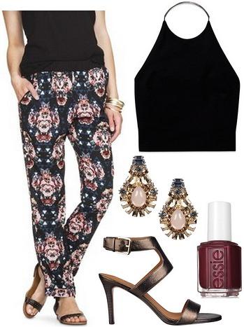 Target printed pants, halter blouse, bronze sandals