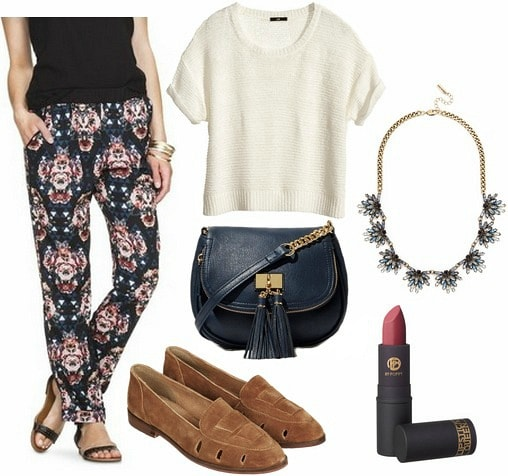 Target printed pants, short sleeve sweater, loafers