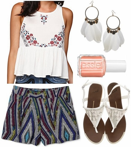 Target printed shorts, embroidered blouse, sandals