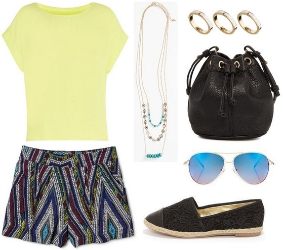 Target printed shorts, neon yellow top, espadrille flats