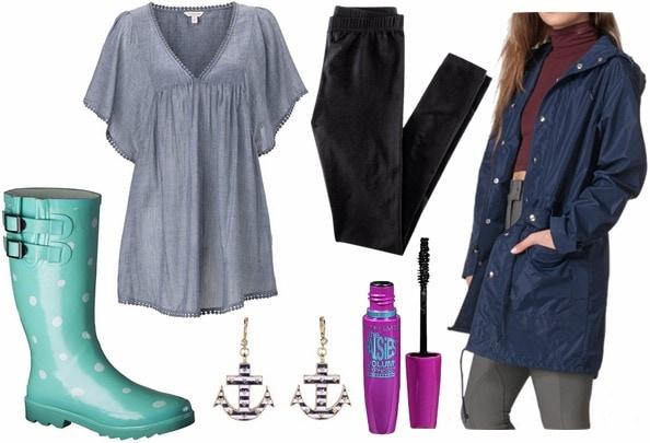 Target rain roots, rain parka, tunic leggings