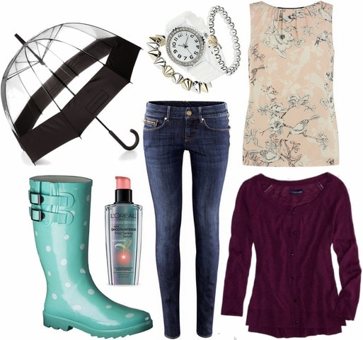 Target rain roots, skinny jeans, printed blouse, clear umbrella