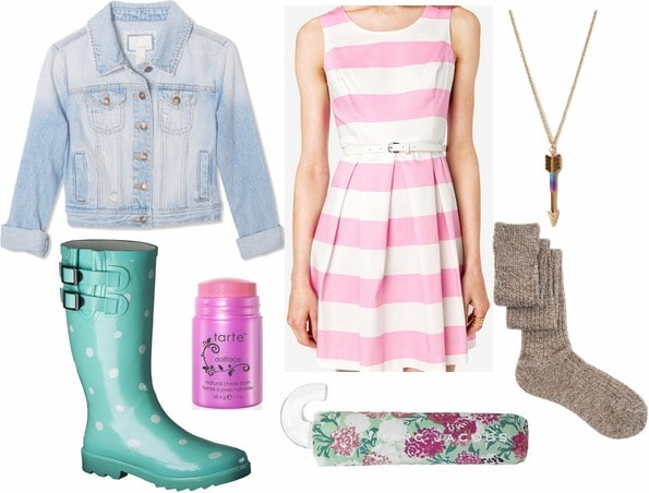 Target rain roots, striped dress, knee high socks, floral umbrella