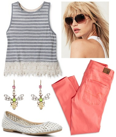 Target stripe lace tank, coral skinnies, woven flats