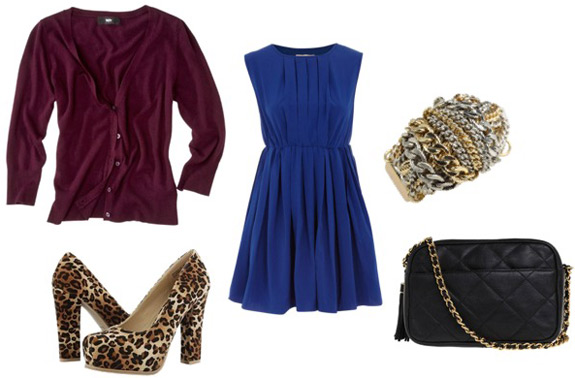 How to wear a burgundy cardigan sweater with a blue dress, leopard print pumps, and a chain strap bag