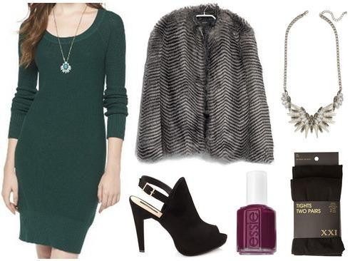 Target sweater dress, faux fur coat, booties