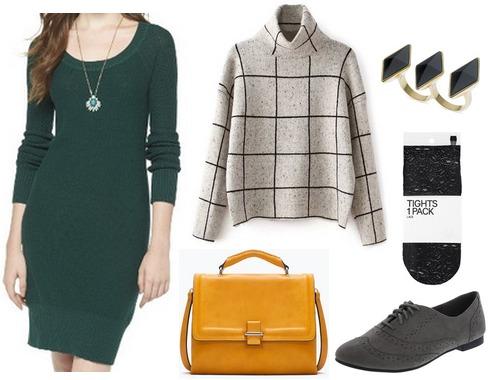 Target sweater dress, grid print turtleneck, oxfords
