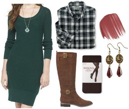 Target sweater dress, plaid shirt, riding boots