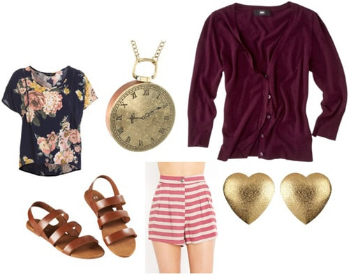 How to wear a burgundy cardigan sweater with a floral tee, striped shorts and sandals