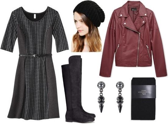 Target textured knit dress, burgundy leather jacket, boots