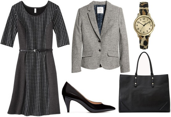 Target textured knit dress, gray blazer, heels, tote