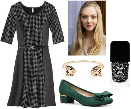 Target textured knit dress, low heel pumps, bangle