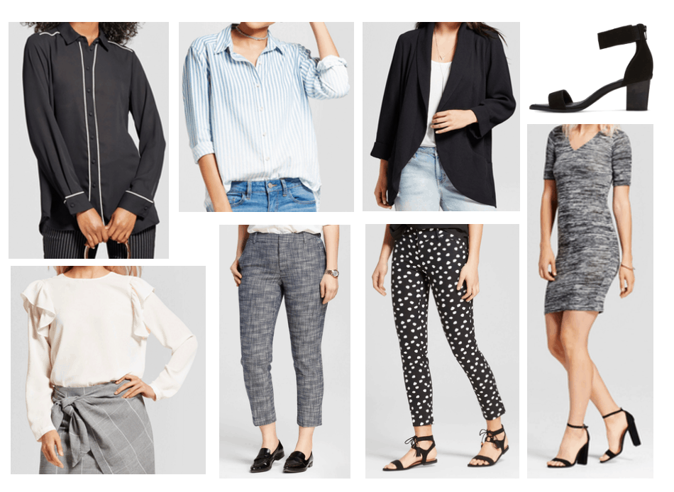 Where to shop for work on a budget: Cute business casual clothes from Target including a black and white piping blouse, blue and white striped ombré shirt, plus size blazer, ruffle shoulder cream colored top, gray skinny trousers, polka dot trousers, sweater dress in gray, simple black heels