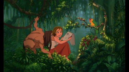 Tarzan and Jane in the jungle in Disney's Tarzan
