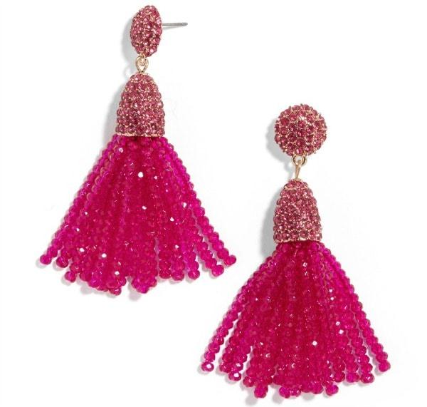 Mini Gem Piñata tassel drop earrings in Pink from Baublebar
