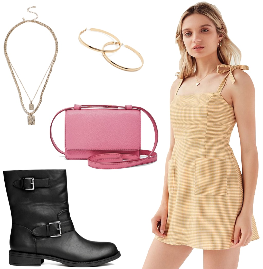 Taylor Hill Outfit: yellow gingham mini dress, gold hoop earrings, layered gold chain necklaces, pink crossbody bag, black moto boots