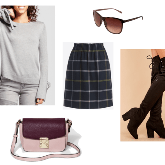 Outfit inspired by Taylor Swift: Plaid skirt in navy blue, gray sweater, pink and purple satchel bag, black lace up over the knee boots