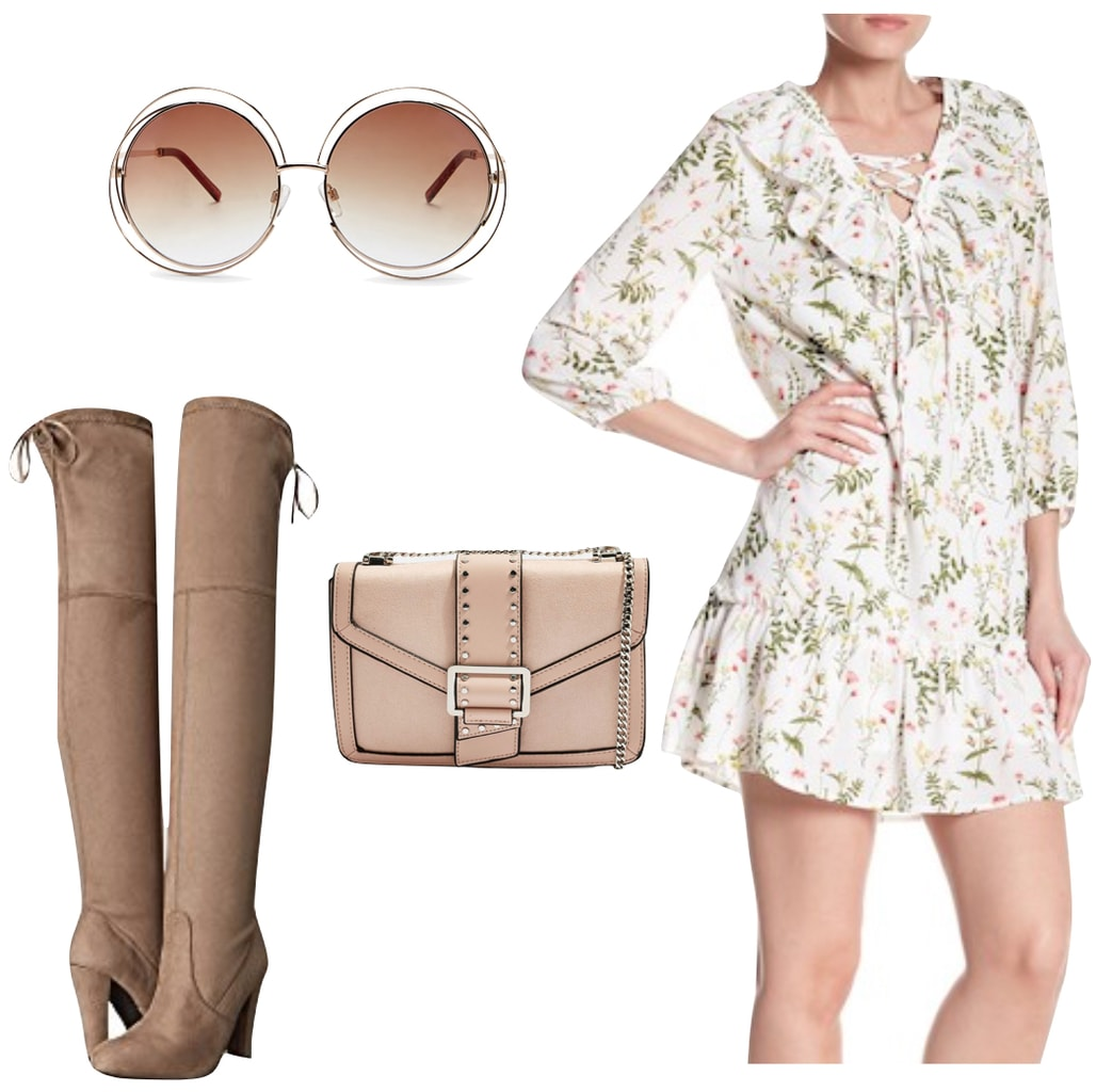 Taylor Swift Outfit: round oversized sunglasses, floral lace-up mini dress, taupe over the knee boots, studded chainlink strap shoulder bag