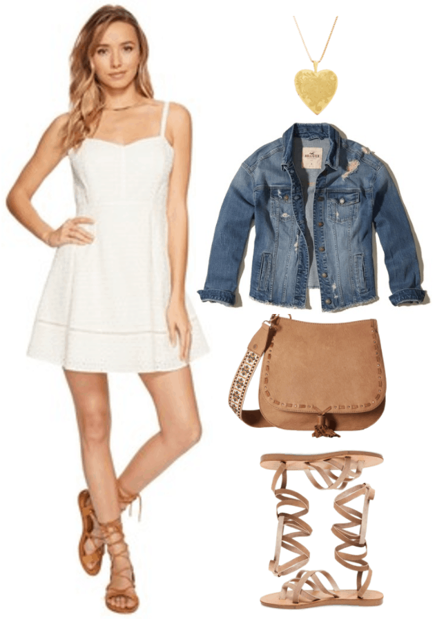 "Fashion Inspired by Music Videos: ""Tim McGraw,"" by Taylor Swift--Outfit #1 featuring ivory eyelet spaghetti strap dress with sweetheart neckline, gold envelope earrings, destroyed boyfriend-style denim jacket, camel-colored cross-body bag with embroidered guitar-strap handle and fringe, beige tie-up gladiator sandals"