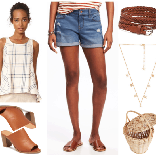 """Fashion Inspired by Music Videos: """"Tim McGraw,"""" by Taylor Swift--Outfit #4 featuring cream-colored tank top with pale pink and dark blue plaid print, cognac brown open-toe heeled mules, destroyed denim cuffed shorts, cognac brown braided leather belt, gold moon and star necklace with clear stones, straw bucket bag with lid"""