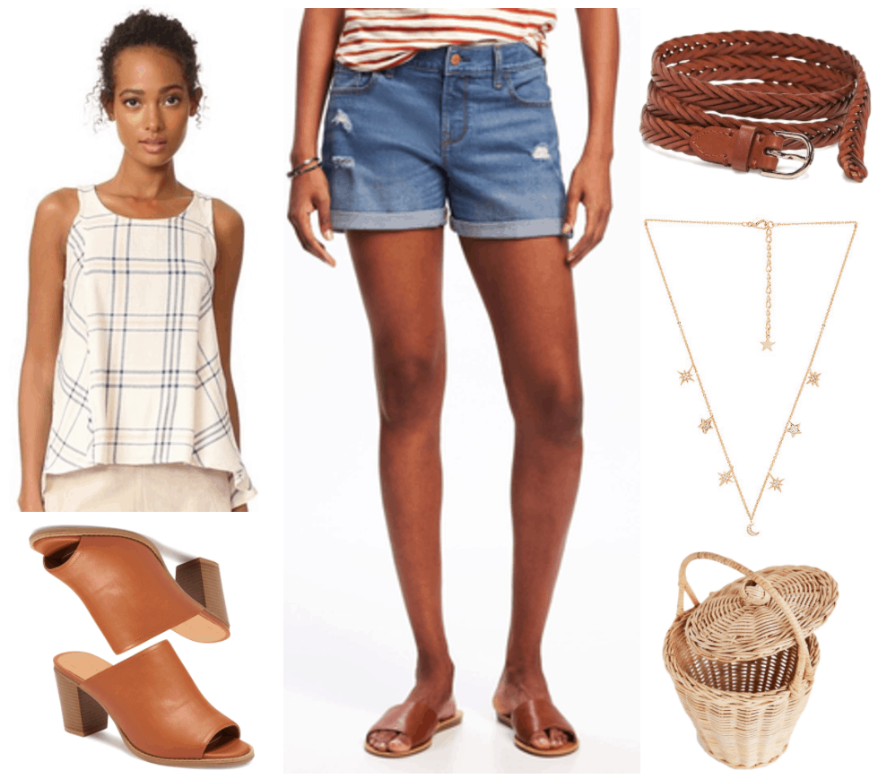 "Fashion Inspired by Music Videos: ""Tim McGraw,"" by Taylor Swift--Outfit #4 featuring cream-colored tank top with pale pink and dark blue plaid print, cognac brown open-toe heeled mules, destroyed denim cuffed shorts, cognac brown braided leather belt, gold moon and star necklace with clear stones, straw bucket bag with lid"