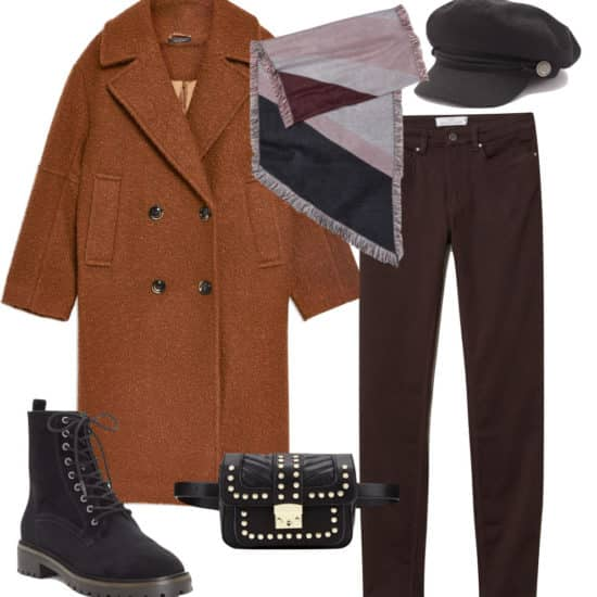 Taylor Swift Outfit: brown fuzzy boucle coat, plum colored skinny pants, black cabby hat, multicolored scarf, black and gold belt bag, and black lace-up boots