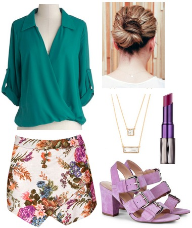 Teal blouse, floral skirt, lilac shoes