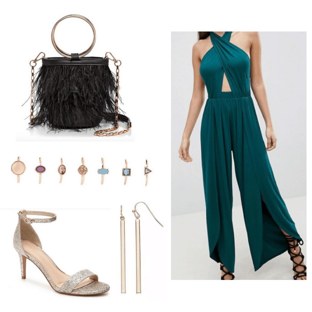 Teal jumpsuit with black fringe hoop handle bag, gold heels, earrings and rings