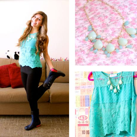 Fancy outfit for a rainy day: Teal tank, statement necklace, jeans, SOREL boots