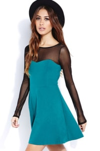 Teal mesh sleeve dress