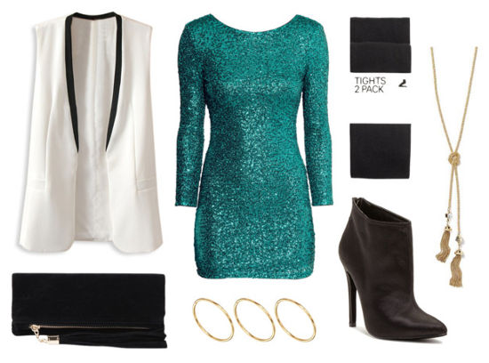 Teal sequin dress white vest black booties
