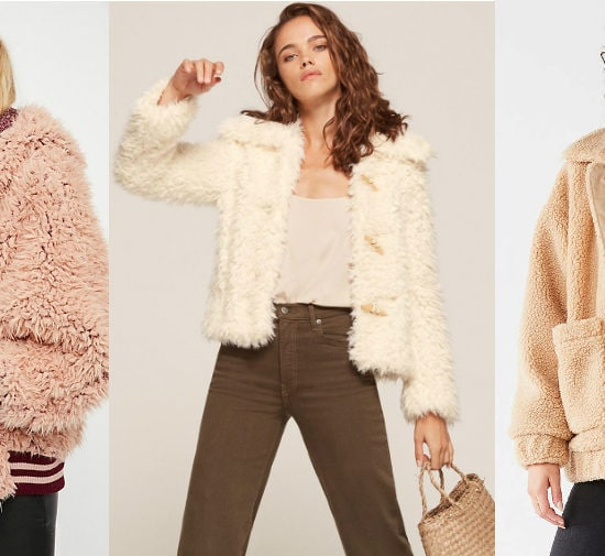 Teddy coat trend (from left to right): baby pink fluffy dolman jacket with dark pink lining and striped ribbed waistband from Free People, an off-white jacket with toggles from Reformation, and an oversized tan boyfriend coat with large pockets from Urban Outfitters.