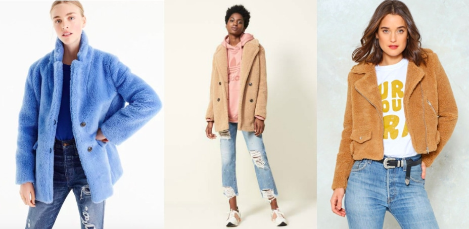 Teddy coat trend (from left to right): a bright blue fleece overcoat from J. Crew, a tan oversized Kensie coat from Nordstrom, and a brown biker jacket from Nasty Gal.