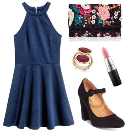 Textured dress beaded clutch black heels