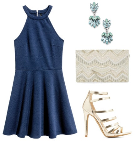 Texture dress gold heels beaded clutch