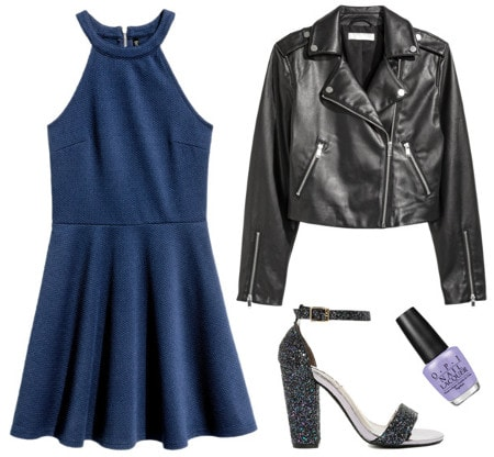 Texture dress moto jacket glitter heels