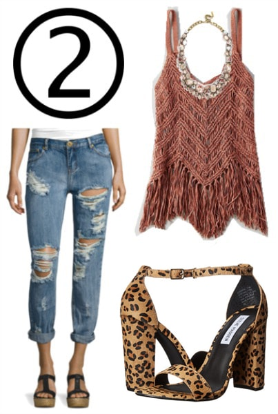 How to wear more texture: Knit top, ripped jeans, leopard heels, gemstone necklace