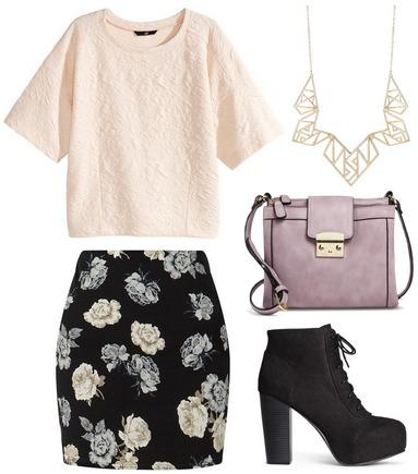 Textured top, floral skirt, platform booties
