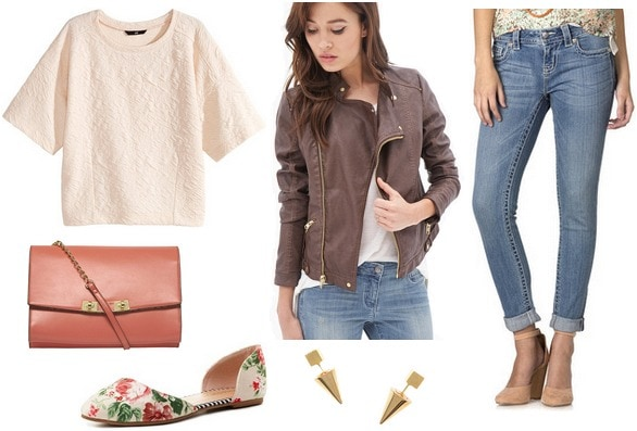 Textured top, jeans, printed flats, moto jacket